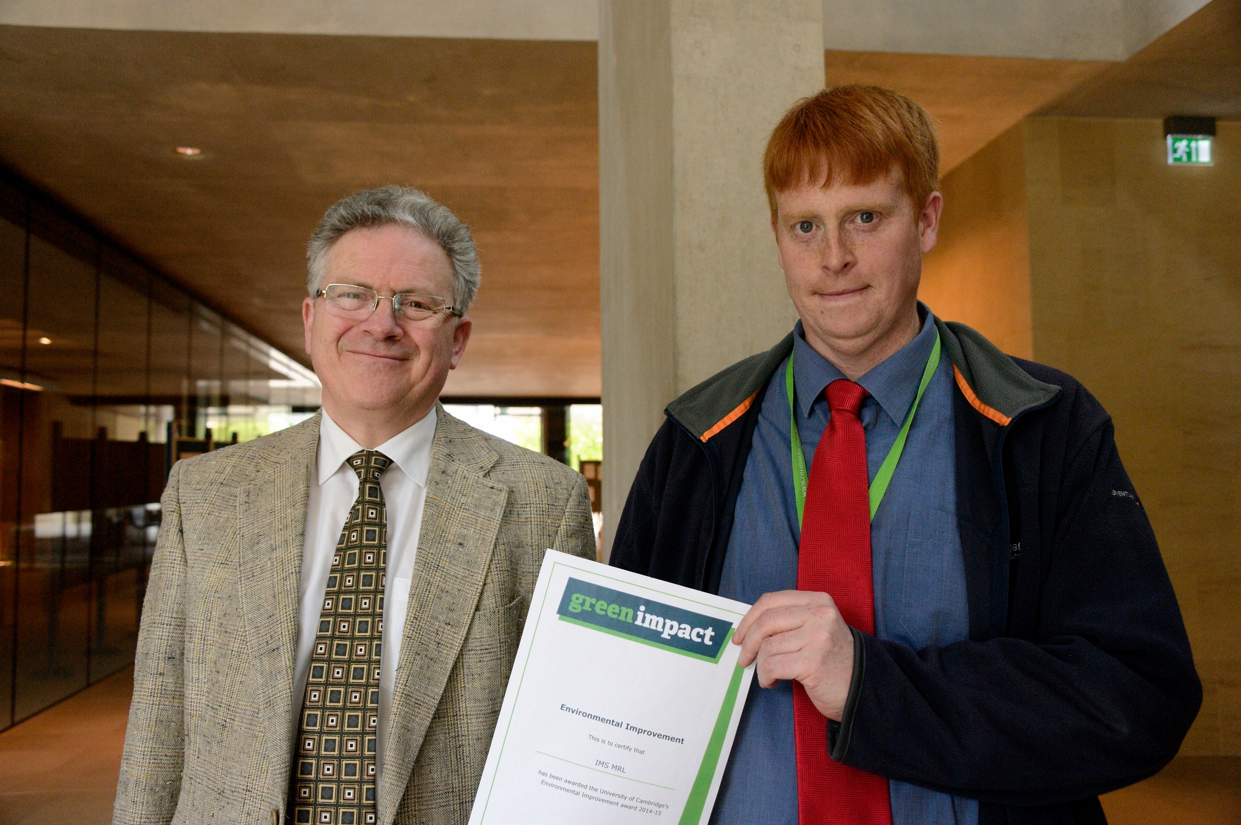 Jonathan Fort from IMS, winner of the Environmental Improvement Award, with Professor Jeremy Sanders, Pro-Vice-Chancellor of Cambridge University