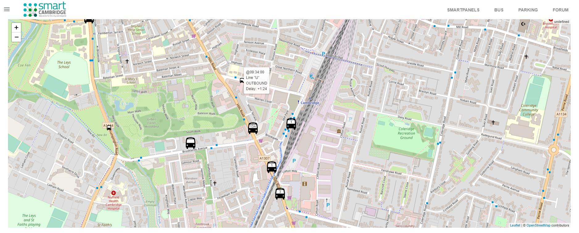 Smart Cambridge bus map